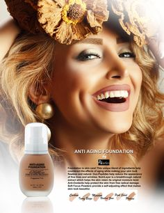 ANTI AGING FOUNDATION by Afmetics Foundation is skin care! This unique blend of ingredients help counteract the effects of aging while making your skin look flawless and natural. Duo-Peptides help reduce the appearance of fine lines and wrinkles. NutriLayer is a breakthrough natural extract which helps the skin retain its original moisture level. Anti-Oxidants help protect the skin from free radical damage. Soft Focus Powders provide a self-adjusting effect that makes skin look beautiful. Freckles, Skin Care Tips, Your Skin, Anti Aging, Dubai, Moisturizer, Foundation, Skincare, Posts