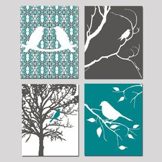 Bird Quad - Set of Four 8x10 Nature Inspired Prints - Modern Nursery Decor - Choose Your Colors - Shown in Gunmetal Gray, Teal