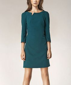 Another great find on #zulily! Green Slit Three-Quarter Sleeve Sheath Dress by NIFE #zulilyfinds