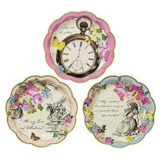 These plates make the cutest Alice in Wonderland theme. The party box includes: 8 Alice Dessert Plates Mixed Pattern 8 Light Blue Dinner Plates 8 Light Blue Cups 8 Straws Mixed Pink & Gold 8 Gold Forks 8 Candy Favor Wands Filled with Chocolates. 16 Pink Striped Napkins