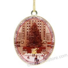 Stunning Brass Rockefeller Center Christmas Ornament  Double sided glazed brass collectors Christmas ornaments from Rockefeller Center featuring the famous Christmas tree, skating rink and Prometheus statue. This is simply a classy ornament sure to impress any guest to your home at Christmas. (http://www.nycwebstore.com/brass-rockefeller-center-christmas-ornament/)
