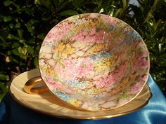 SHELLEY ROCK  GARDEN CHINTZ  # 13415   FOOTED CUP &  SAUCER   - GOLD TRIM