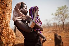 Refugees from the Nuba Mountains in Sudan. Beautiful mother and child.