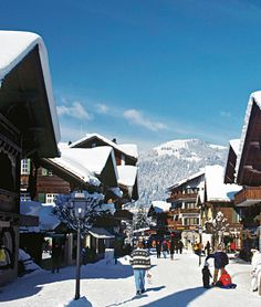 Snowy winter in the village of Gstaad in the Canton of Bern in Switzerland.