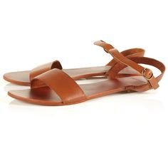 HOUPLA Leather Strap Sandals ($20) ❤ liked on Polyvore featuring shoes, sandals, flats, topshop, tan, leather flat shoes, flats sandals, ankle wrap flats, ankle strap flats and flat pumps