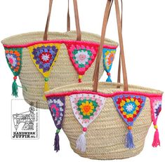 IBIZA bag with crochet bunti flags!! with tutorial!! what a great idea to dress up a simple bag!!!