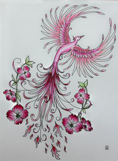 A flowing, feminine phoenix with dogwood flowers; perfect conversation piece to enjoy looking at all of the details. A classic symbol of recovery and survival; makes a wonderful gift for a friend going through a hard time, or your own symbol of moving on...This one is pink, in honor of breast cancer survivors.  11x 14 Freehand original ink and color pencil drawing. Mounted on matte board and wrapped in plastic for shipping. Fits in a standard size frame.