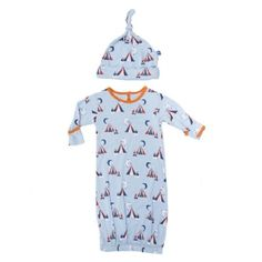 Print Layette Gown & Knot Hat Set in Pond Tent