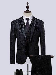Pockets One Button Floral Print Men's Dress Suit