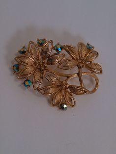 Vintage Signed Lisner Gold Tone Flowers with Blue Green Stones Brooch Pin  #Lisner