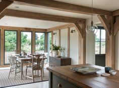 Since 1980 Border Oak have specialised in the design and construction of exceptional bespoke oak framed buildings across the UK and abroad Cottage Extension, House Extension Design, House Design, Style At Home, Border Oak, Oak Framed Buildings, Oak Frame House, Farmhouse Remodel, Beautiful Kitchens