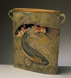 Adrian-Brough,-UK - twin handled vase with swimming fishes motif click now for more info. Pottery Painting, Pottery Vase, Ceramic Pottery, Pottery Gifts, Kintsugi, Art Nouveau, Cerámica Ideas, Sculptures Céramiques, Hand Built Pottery