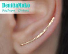 Ear Climbers Earrings Ear Climber Gold Ear Pins by Benittamoko