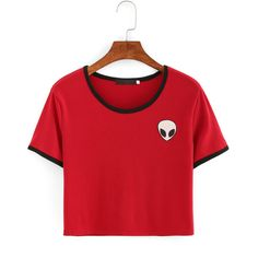 Red Crew Neck Alien Print Crop T-Shirt (11.900 CLP) ❤ liked on Polyvore featuring tops, t-shirts, long-sleeve crop tops, red crop top, short sleeve t shirts, crewneck tee and summer crop tops