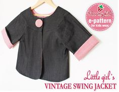 Chic-Vintage Style Swing Jacket (12 months upto age 6)