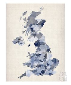 Great Britain UK Watercolor Map Premium Giclee Print by Michael Tompsett at Art.com