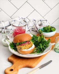 Falafel Burgers with Yogurt Dill Sauce