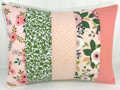 Pillow Cover, Nursery Pillow Cover, Shabby Chic, Nursery Decor, 12 x 16 Inches, Floral, Flowers, Coral Pink, Blush Pink, Green, Garden