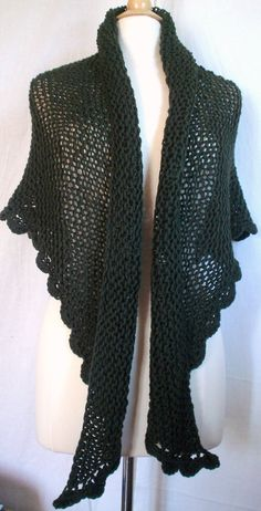 Hand Knit Triangle Shawl Wrap Scarf Lacy Dark Olive. by knitme1