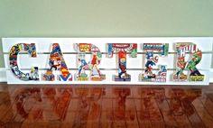 Superhero Name Board- Custom Wooden Letters-Boy Room Art-Decorative Letters-Custom Name Board-Children's Room  Wall Art-Superhero Letters