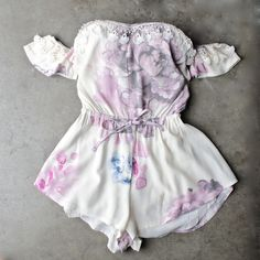 pastel floral print off the shoulder strapless romper - cream