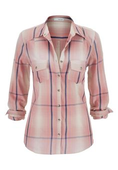 plaid button down shirt in pink - #maurices