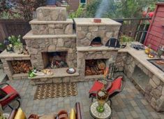 Backyard fireplace pizza oven outdoor kitchens 19 ideas for 2019 Outdoor Fireplace Plans, Backyard Fireplace, Fireplace Ideas, Outside Living, Outdoor Living, Modern Outdoor Kitchen, Outdoor Kitchens, Country Kitchens, Outdoor Kitchen Countertops