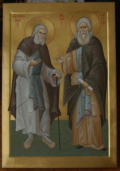 Saint Seraphim of Sarov and Saint Sergius of Radoezh… Orthodox Icons, Hagiography, I Icon, Byzantine Art, Art, Best Icons, Art Icon