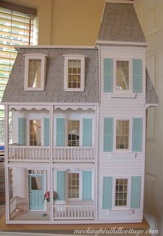 """Mine is turquoise walls with white trim. it's really very pretty, decorated inside with small victorian furniture & adorable tiny things that make me go """"eek! Victorian Dolls, Victorian Dollhouse, Modern Dollhouse, Vintage Dolls, Vintage Paper, Miniature Houses, Miniature Dolls, Dollhouse Kits, Dollhouse Miniatures"""