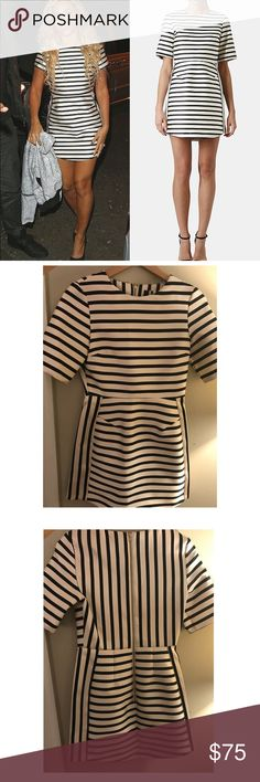 Topshop Dress - Navy and white striped Structured, Navy and white stripe, worn only once. It's a great dress, just too short for me! (6ft tall) Topshop Dresses Mini