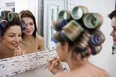 How to Use Hair Rollers to Style Hair. Some people associate hair rollers with housewives sitting under bonnet hair dryers in the In fact, hair rollers are the fastest way. Hot Rollers, Velcro Rollers, Rollers In Hair, Roll Hairstyle, Curled Hairstyles, Hairstyle Ideas, Cowlick, How To Curl Your Hair, How To Style Hair