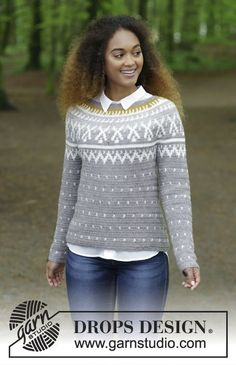 Winter Sunshine - Jumper with round yoke and Norwegian multi-coloured pattern, crocheted top down. Size: S - XXXL Piece is crocheted in DROPS Karisma. Free crochet pattern DROPS 180-15