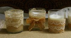 Vintage lace FALL wedding tea candles, Victorian wedding centerpiece, Indian wedding decor, French Country wedding vase, Vintage wedding,. via Etsy.