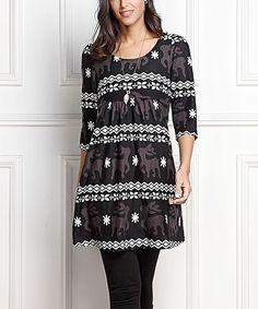 Black & Charcoal Reindeer Empire-Waist Tunic Dress - Plus Too