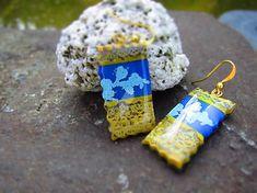 Atelier-Muza / Náušnice tyrkysový reliéf (Zlatá čipka) Earrings Handmade, Jewerly, Christmas Ornaments, Holiday Decor, Atelier, Jewlery, Schmuck, Christmas Jewelry, Jewelry