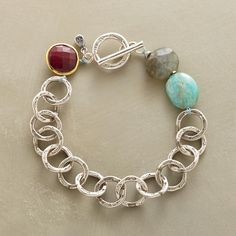 """SKY LINK BRACELET--Apatite, labradorite and ruby mimic the sky, evening and sun light in this handcast sterling silver bracelet. Sterling silver toggle. Exclusive. 7-1/2""""L."""