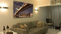 """This is """"Bridge Over New York"""" and you can find it at Sofa, Couch, Cityscapes, Bridge, Flat Screen, New York, The Originals, Canvas, Furniture"""