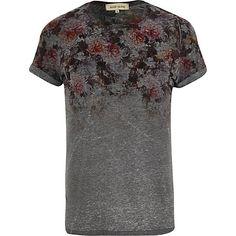 Dark grey floral yoke print t-shirt - print t-shirts - t-shirts / vests - men