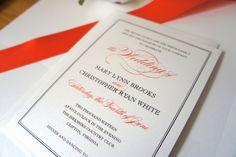 Coral Wedding Invitation, Classic Wedding Invitation, Coral and Gray Wedding Invites, Belly Band, Formal Wedding Invitation - DEPOSIT