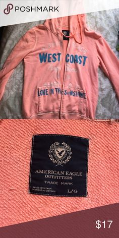 Comfy AE zip up jacket ✨ Size L • bright peach • lightly worn • distressed style stitching American Eagle Outfitters Jackets & Coats Utility Jackets