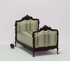 Mahogany Hand Carved Victorian Upholstered Bed in Green Stripe Damask