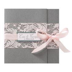 """Hochzeitseinladung """"rosa Spitze"""" - romantischer geht es kaum. Jetzt online bestellen bei Top-Kartenlieferant"""