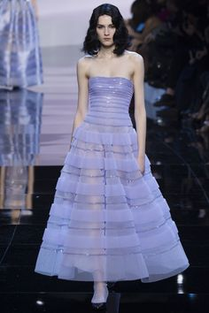 Armani Privé stunning mauve bandeau ballgown with sequin stripes and ruffles - Spring 2016 Couture Fashion Show #thoushallgototheball...x