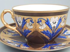 Old Tiffany Reed & Co Porcelain Cup & Saucer Aesthetic Blue and Gold Enamel #2