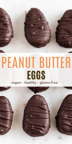 Homemade chocolate peanut butter eggs are a delicious no-bake treat that are so easy to make with simple, wholesome ingredients. These creamy peanut butter eggs dipped in rich melted chocolate make the perfect satisfying treat. Peanut Butter Eggs, Gluten Free Peanut Butter, Homemade Peanut Butter, Creamy Peanut Butter, Homemade Chocolate, Chocolate Peanut Butter, Healthy Egg Recipes, Vegan Dessert Recipes, Vegan Sweets