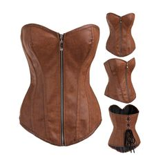 Zipper khaki leather corset christinzhang9@gmail.com what's app:+8615018494659