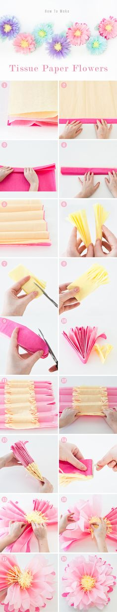 How to make pretty tissue flowers.