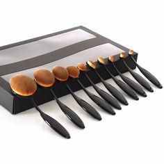 10pcs Makeup Tooth Brush Shape Oval Makeup Brush Set Contour Foundation Makeup Toothbrush Oval Kit Makeup Brush Tools