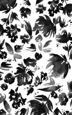 Watercolour Floral Print - black & white pattern