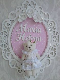 MDF ursinha Girl Nursery, Girl Room, Baby Room, Nursery Decor, Baby Shower Crafts, Baby Crafts, Diy And Crafts, Deco Buffet, Baby Frame
